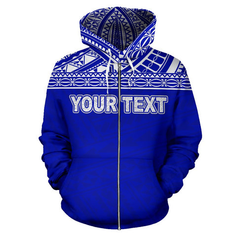 Image of Poly All Over Print Zip-Up Hoodie - Polynesian Blue Custom Version - BN09