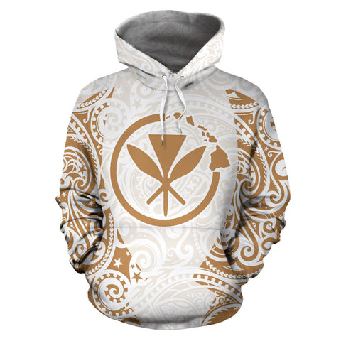 Image of Hawaii Hoodie Polynesian Kanaka White Gold
