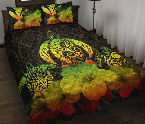 Kanaka Maoli (Hawaiian) Quilt Bed Set Reggae Turtle Polynesian with Hibiscus