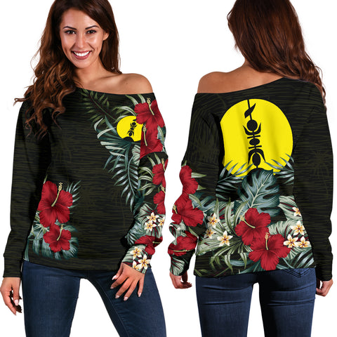 New Caledonia Hibiscus Off Shoulder Sweater A7