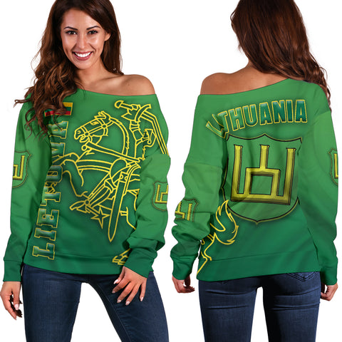 Lithuania Vytis Columns of Gediminas Women Off Shoulder Sweater K8