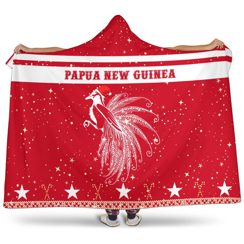 Papua New Guinea Paradise Bird Hooded Blanket - Red - Christmas Style - J092