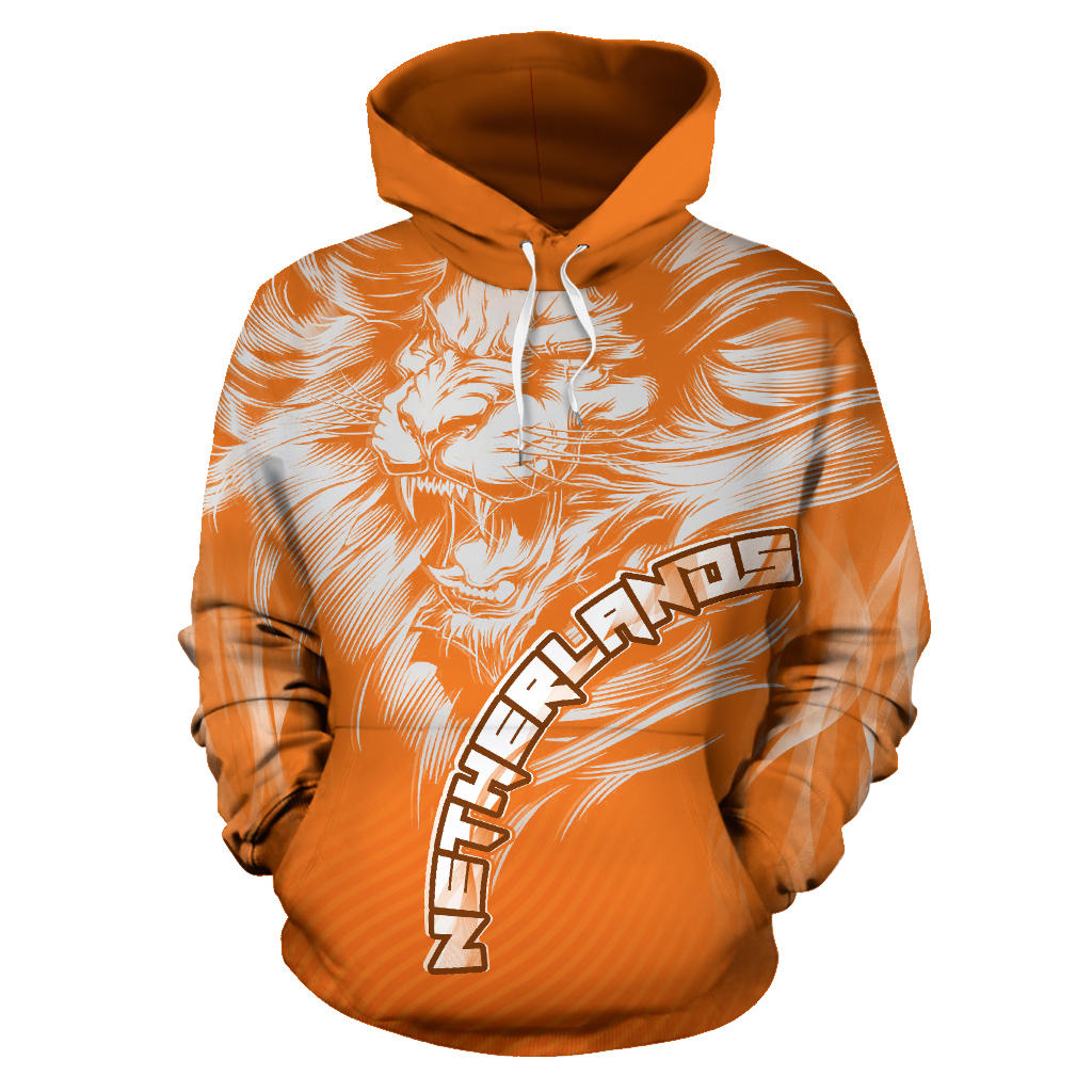Dutch Lion Hoodie Netherlands with Orange mix White color - Front for Men and Women