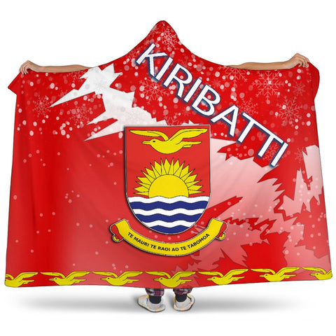 Kiribati Coat Of Arms Hooded Blanket - Red - X Style - J82