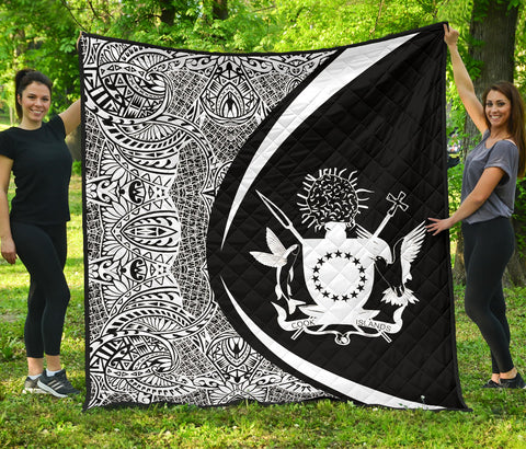 Image of Cook Islands Coat Of Arms Polynesian Premium Quilt - Circle Style