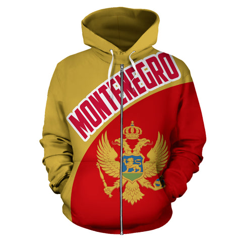 Montenegro Zip-Up Hoodie Wave Flag Color