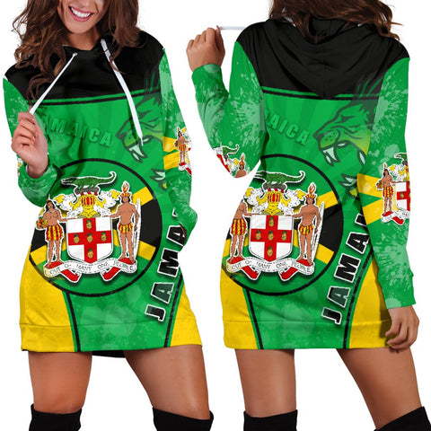 Jamaica Lion Women Hoodie Dress Circle Stripes Flag Version | 1sttheworld