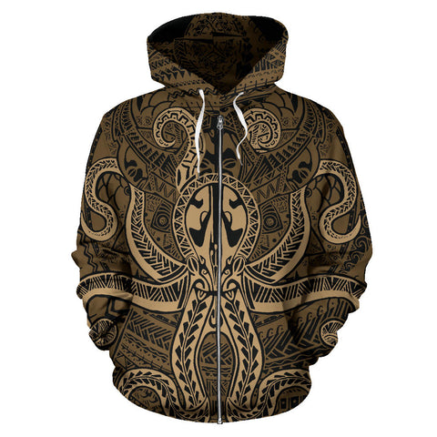 Polynesian Hoodie - Octopus Tattoo (Zip) TH5