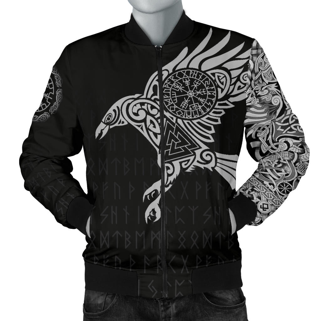 8ef25264 Vikings - The Raven of Odin Tattoo Men's Bomber Jacket A7