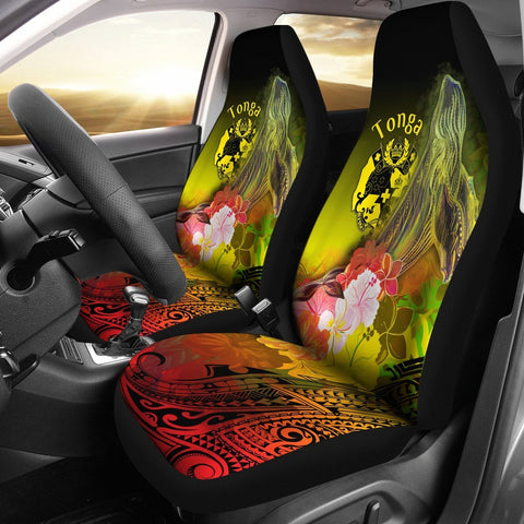 Tonga Car Seat Covers - Humpback Whale with Tropical Flowers (Yellow)