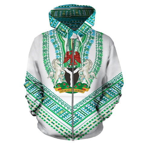 Nigerian Coat of Arms Dashiki Zip Hoodie - White K5