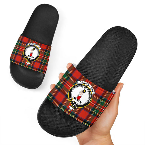 Tartan Slide Sandals - Dennistoun Clans - Black Version