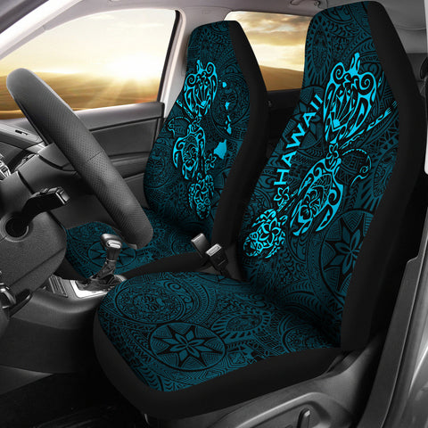 Image of Hawaii Family Turtles Map Polynesian Car Seat Covers - Blue 3
