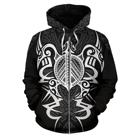 Tonga Turtle Polynesian Gray Zip Up Hoodie - Armor Style