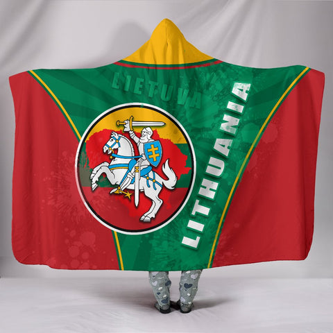 Image of Lithuania - Lietuva Hooded Blanket Circle Stripes Flag Proud Version | 1sttheworld