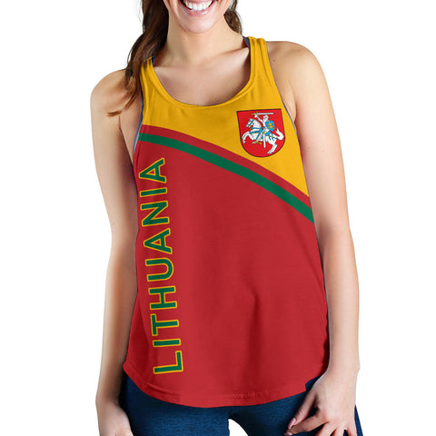 Image of Lithuania Women's Racerback Tank - Curve Version font