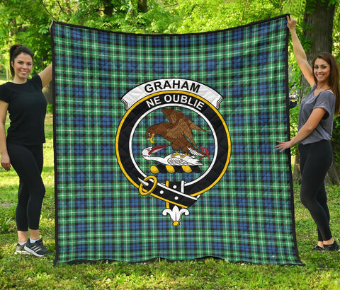 Graham of Montrose Ancient Tartan Clan Badge Premium Quilt | 1sttheworld.com