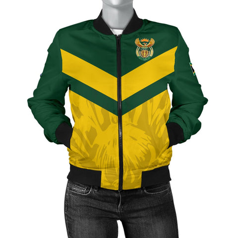 1stTheWorld South Africa Bomber Jacket - South African Rising King Protea Women Yellow A10
