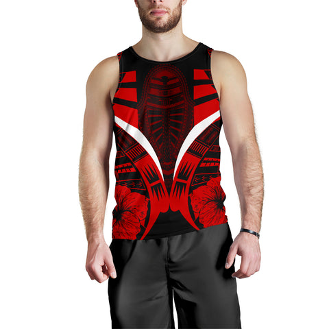 Image of Polynesian Tattoo Men Tank Top Hibiscus Red 1