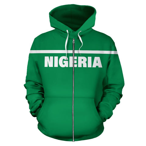 Nigeria All Over Zip-Up Hoodie - Horizontal Style