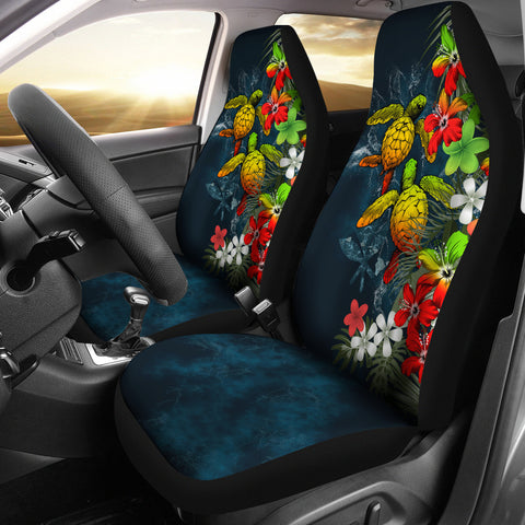 Kanaka Maoli (Hawaiian) Car Seat Covers - Sea Turtle Tropical Hibiscus And Plumeria Reggae| Love The World