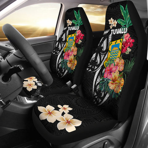 Tuvalu Car Seat Covers Coat Of Arms Polynesian With Hibiscus