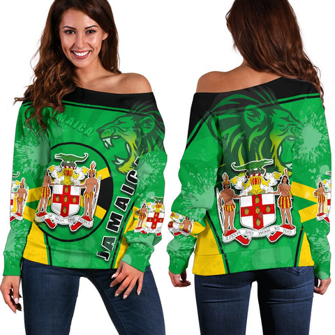 Jamaica Lion Women Off Shoulder Sweater Circle Stripes Flag Version | 1sttheworld
