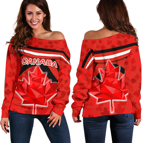 Canada Women Off Shoulder Sweater - Vibes Version K8