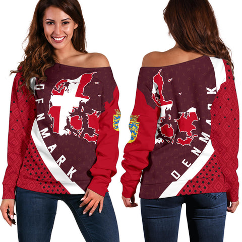 Denmark Map Generation II Off Shoulder Sweater K6 - Dark Red - Front and Back - for Women