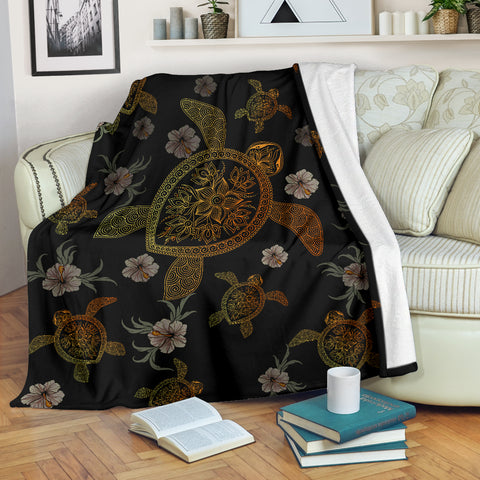 Hawaiian Gold Turtle Premium Blanket A5