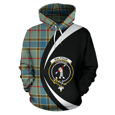 (Custom your text) Balfour Blue Tartan Circle Hoodie