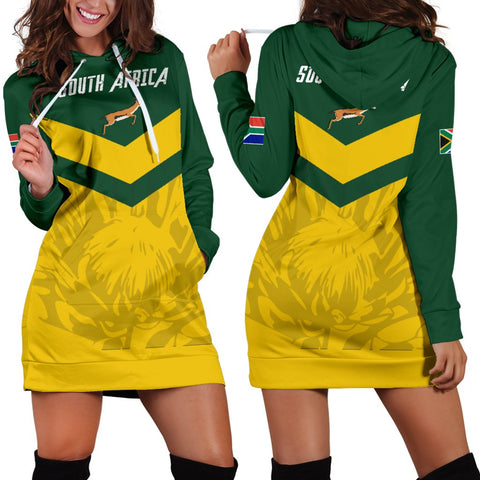 1stTheWorld South Africa Hoodie Dress - South African Rising King Protea Women Yellow A10