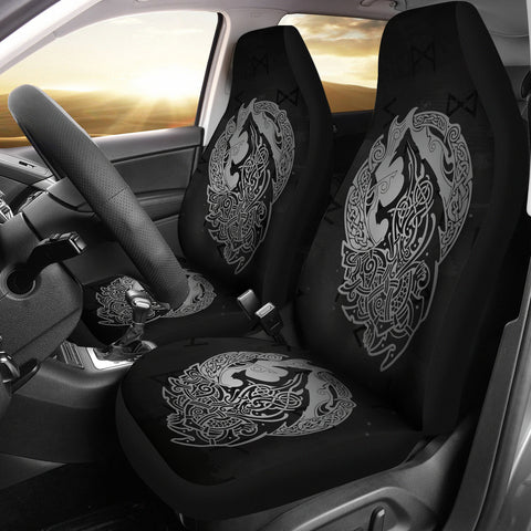Norse Viking Car Seat Covers - Viking Wolf Celtic Galaxy Car Seat Covers Gray