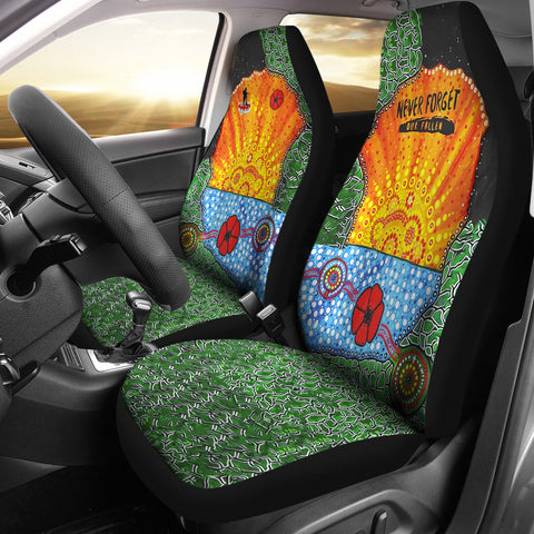 Aboriginal Australian Anzac Day Car Seat Covers - Lest We Forget Poppy