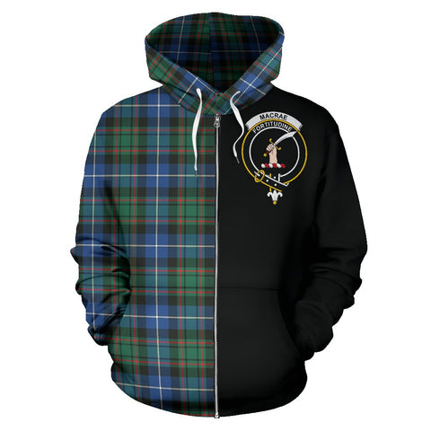 MacRae Hunting Ancient Tartan Hoodie Half Of Me | 1sttheworld.com