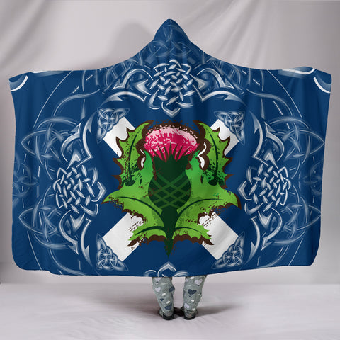 Image of Scotland Hooded Blanket - Saltire Thistle | 1sttheworld