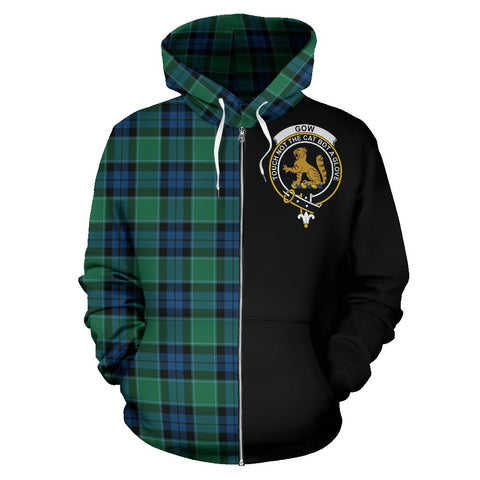 Graham of Menteith Ancient Tartan Hoodie Half Of Me | 1sttheworld.com