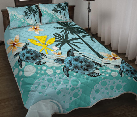 Hawaii Quilt Bed Set - Blue Turtle Hibiscus | Love The World