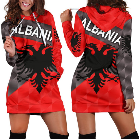 Image of Albania Women Hoodie Dress Sporty Style | 1sttheworld