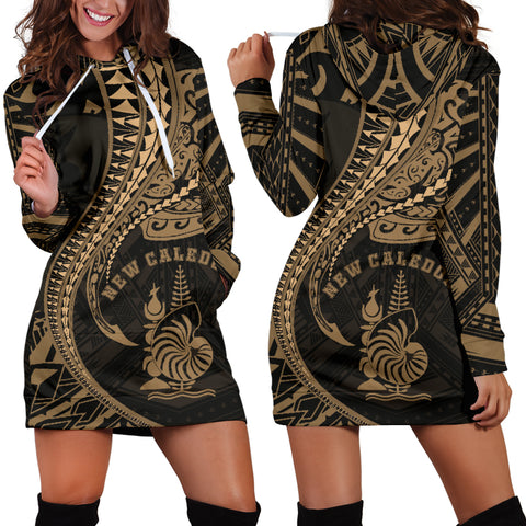New Caledonia Women's Hoodie Dress Kanaloa Tatau Gen NC (Gold)