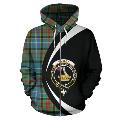 (Custom your text) Paisley District Tartan Circle Zip Hoodie