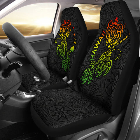 Hawaii Family Turtles Map Polynesian Car Seat Covers - Rasta 3