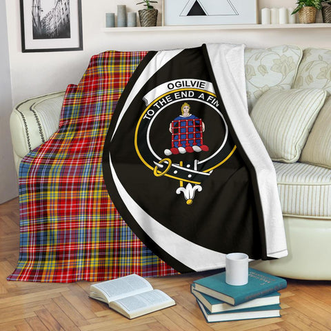 Image of Ogilvie of Airlie Ancient Tartan Clan Crest Premium Blanket Circle