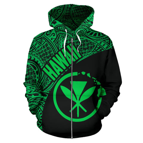 Hawaii Zip-Up Hoodie Maoli Polynesian Black Green Version