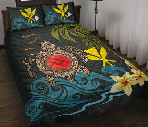 Image of Hawaii Quilt Bed Set - Coat Of Arm Turtle Hibiscus A24