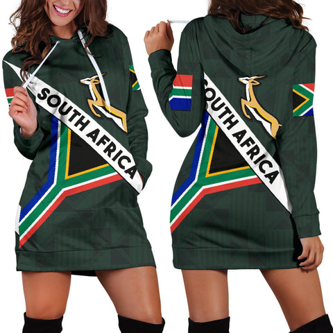 South Africa Hoodie Dress Springbok Miss Style front and back | CLothing