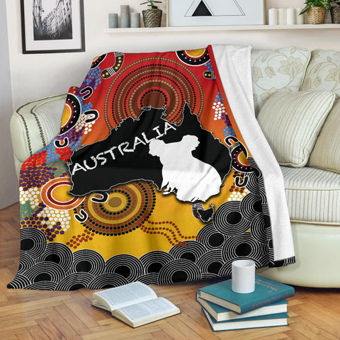 Australia Aboriginal Premium Blanket With Map