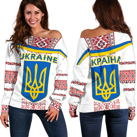 Ukraine Women Off Shoulder Sweater - Vibes Version K8