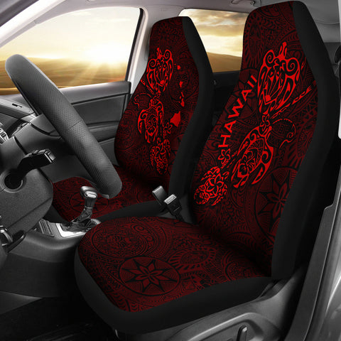 Image of Hawaii Family Turtles Map Polynesian Car Seat Covers - Red 3