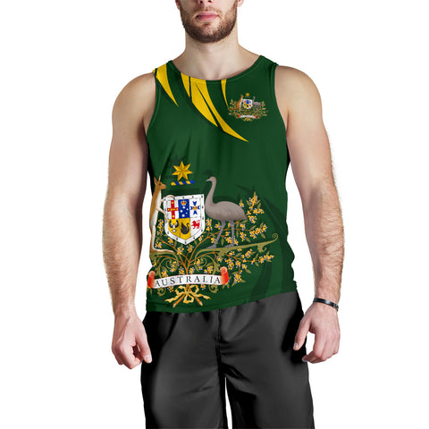 1stTheWorld Australia Tank Top, Australia Coat Of Arms Men Green A10.